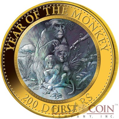 Cook Islands Year of The Monkey $200 Mother of Pearl Lunar Series 2016 Gold Coin 5 oz