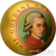 Samoa DIE GOLDENE MOZARTKUGEL MOZART $5 Silver Coin 2016 Gold plating Unique Spherical shape 1 oz
