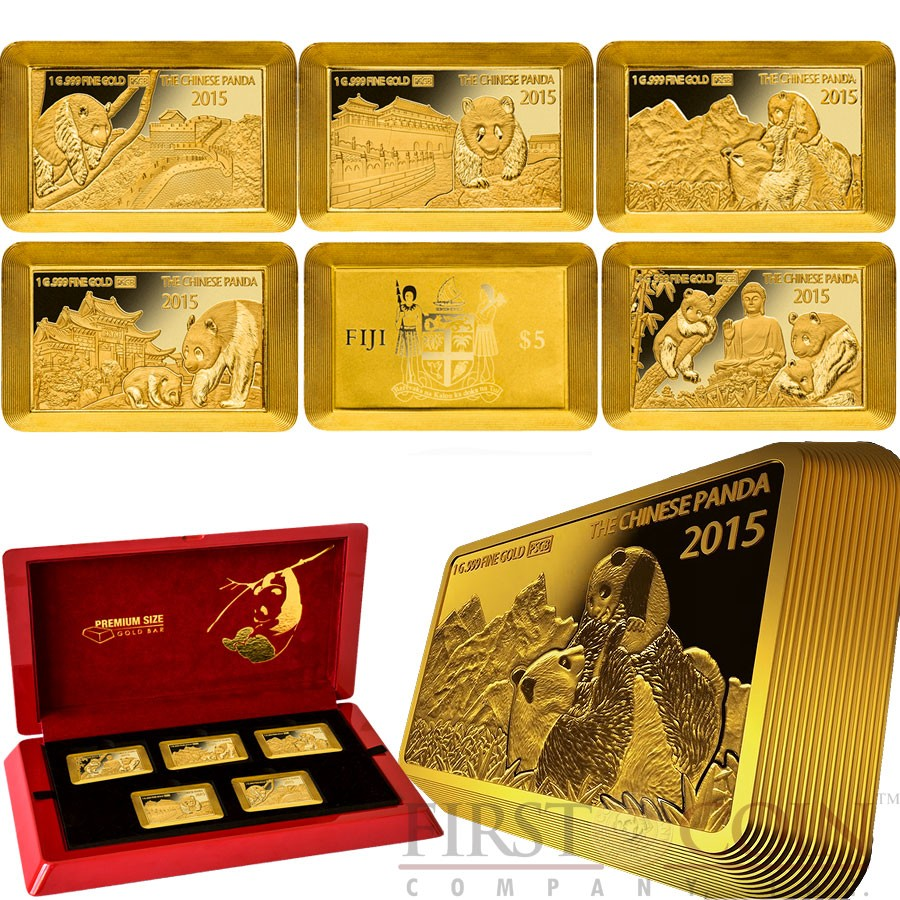 fiji chinese panda the largest 1g coin bars 25 premium size 5 gold coin set 3d volume effect 2015. Black Bedroom Furniture Sets. Home Design Ideas
