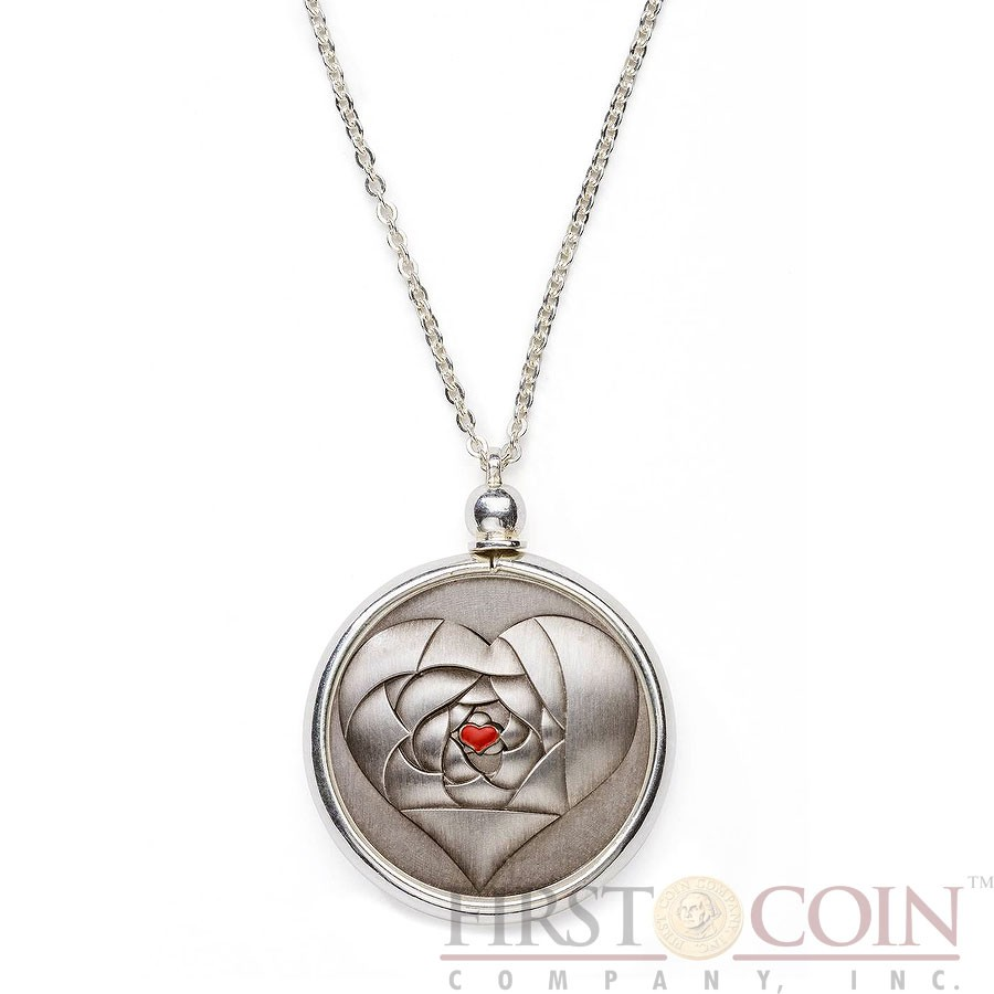 Cook Islands ROSE IN YOUR HEART 2016 Silver coin $1 Antique Finish Multi-Layer technique 3D effect