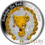 Kiribati CHRISTMAS RUDOLPH THE RED-NOSED REINDEER Silver coin $5 Gold colored Filigree background Real ruby 2015