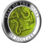 Cook Islands Year of the Snake Mother of Pearl Lunar 5 oz Silver Coin 2013