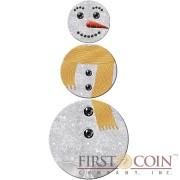 Kiribati CHRISTMAS SNOWMAN 3 Coin Silver Set $17 Diamond frosting & Black Zirconia stones 2016 Snowman shape 1.75 oz
