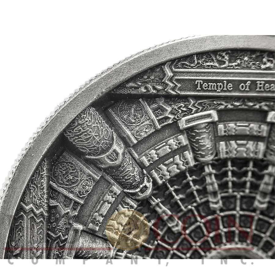 Cook Islands TEMPLE of HEAVEN BEIJING series 4 LAYER MINTING $20 Silver coin 100 g Antique finish 2015 Ultra High Relief Concave shape 3.2 oz