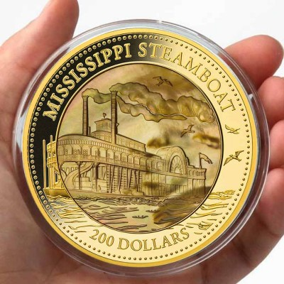 Cook Islands Mississippi Steamboat series DISCOVERY $200 Gold Coin 2015 Mother of Pearl Proof 5 oz