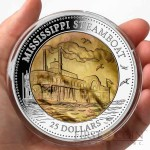 Cook Islands Mississippi Steamboat $25 Series MOTHER OF PERL TRANSPORT 2015 Silver Coin 5 oz