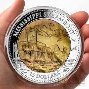Cook Islands Mississippi Steamboat series DISCOVERY $25 Silver Coin 2015 Mother of Pearl Proof 5 oz