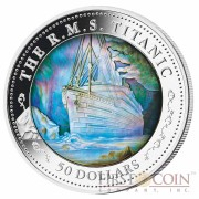 Fiji Titanic Series MOTHER OF PERL TRANSPORT 5 oz Proof Silver Coin 2012