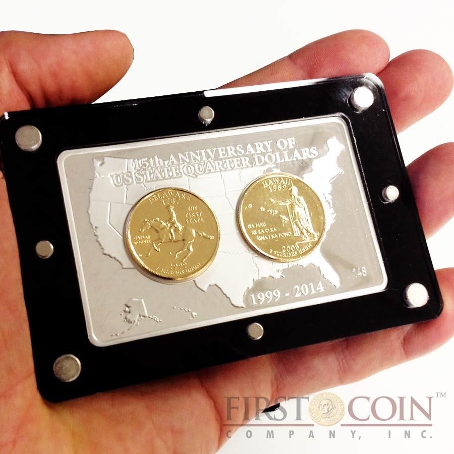 usa 15th anniversary of us state quarter dollars premium 3 coin set gilded silver bar 2 oz 2. Black Bedroom Furniture Sets. Home Design Ideas