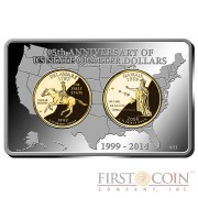 USA 15th Anniversary of US State Quarter Dollars Premium 3 coin Set Gilded Silver Bar 2 oz 2 Gilded Quarters 2014