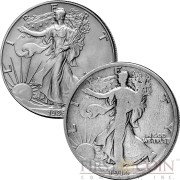 USA 100th ANNIVERSARY OF SILVER WALKING LIBERTY American Silver Eagle 1916 Half Dollar and 1986 One Dollar Two Silver Coin Set Special edition with a Serial number 1.4 oz total weigh