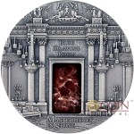 Fiji BLUE DRAWING ROOM BUCKINGHAM PALACE Silver coin Masterpieces in Stone Series $10 Antique finish 2014 Rosso Levanto marble 3 oz