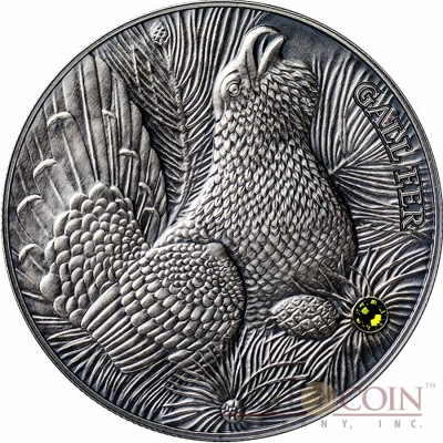Andorra THE WOOD GROUSE Gall Fer 4th coin - EUROPE EDITION of ATLAS of WILDLIFE Series 1oz Silver coin Antique finish 10 Diners Ultra High Relief with Swarovski crystal 2014