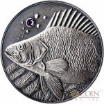 Andorra THE PERCH 2nd coin - EUROPE EDITION of ATLAS of WILDLIFE Series 1oz Silver coin Antique finish 10 Diners Ultra High Relief with Swarovski crystal 2014