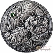 Andorra THE POND TURTLE 3rd coin - EUROPE EDITION of ATLAS of WILDLIFE Series 1oz Silver coin Antique finish 10 Diners Ultra High Relief with Swarovski crystal 2014