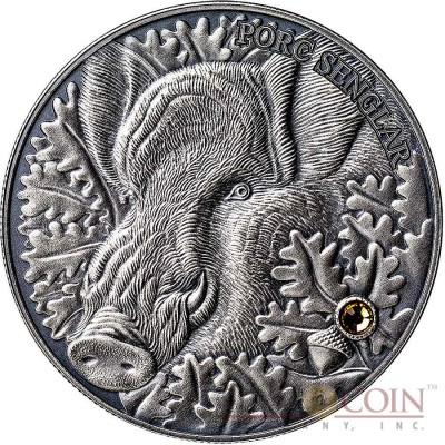 Andorra THE WILD BOAR 1st coin - EUROPE EDITION of ATLAS of WILDLIFE Series 1oz Silver coin Antique finish 10 Diners Ultra High Relief with Swarovski crystal 2014