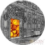 Fiji AMBER ROOM SAINT PETERSBURG Series MASTERPIECES IN STONE Silver coin $10 Antique finish 2015 Genuine Amber 3 oz