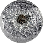 Republic of Chad CAMPO DEL CIELO Series METEORITE ART Silver coin 5000 Francs Inlay meteorite Ultra High Relief 2018 Antique finish 5 oz