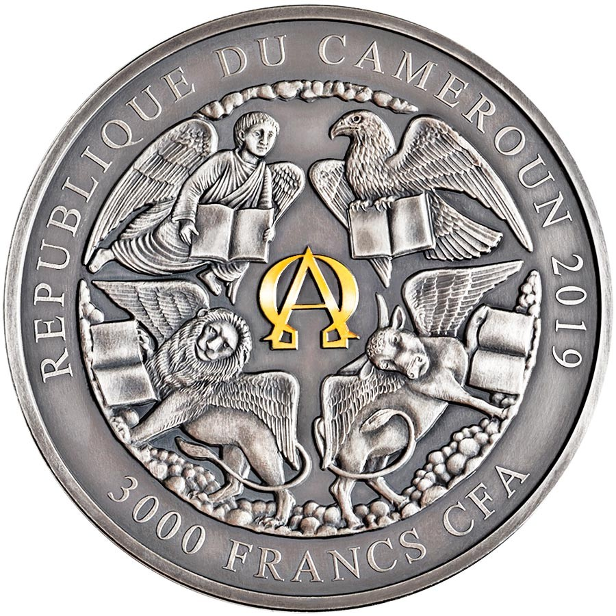 Republic of Cameroon FOUR HORSEMEN OF THE APOCALYPSE 3000 Francs Silver Coin 2019 Antique finish Ultra High Relief Gold plated 3 oz