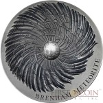 Republic of Chad BRENHAM Series METEORITE ART Concave Silver coin 5000 Francs Antique finish 2016 Natural iron meteorite Ultra High Relief 5 oz