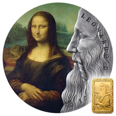 Republic of Ghana MONA LISA LA GIOCONDA by Leonardo Da Vinci Italy series WORLD'S GREATEST ARTISTS 20 GH₵ Cedis Silver Coin 2019 Antique finish 2 oz