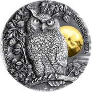 Niue Island LONG-EARED OWL series WILDLIFE IN THE MOONLIGHT $5 Silver Coin Antique finish Ultra High Relief 2019 Gold plated 2 oz