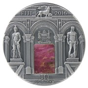 Fiji Sala dell'Anticollegio-Palazzo Ducale Series MASTERPIECES IN STONE Silver coin $10 Antique finish 2016 Genuine rhodonite inset 3 oz