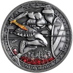 Republic of Cameroon SPARTAN HOPLITE series LEGENDARY WARRIORS Silver Coin 3000 Francs Antique finish 2019 Ultra High Relief Gold plated 3 oz
