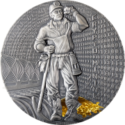 Niue Island CRYPTO MINING Silver Coin $2 Antique finish 2021 High relief Gold plated 1.6 oz