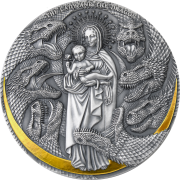 Republic of Cameroon LADY AND DRAGON series Apocalypse Silver Coin 3000 Francs Antique finish High relief 2021 Gold plated 3 oz