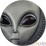 Republic of Cameroon ALIEN 70TH ANNIVERSARY OF ROSWELL INCIDENT series UFO Silver coin 3000 Francs 2017 Antique finish Ultra High Relief GLOW IN THE DARK EYES 3 oz