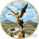 Mexico LIBERTAD ALLENDE METEORITE series OUNCE OF SPACE 1 Onza Silver coin 24K Gold plating 2016 Genuine meteorite 1 oz