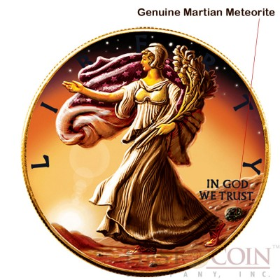 USA LIBERTY WALKING ON MARS series OUNCE OF SPACE $1 American Silver Eagle Coin 24K Red Gold plating 2016 Genuine Martian Meteorite 1oz