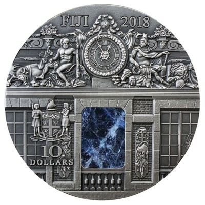 Fiji The War Rooms Versailles Series MASTERPIECES IN STONE Silver coin $10 Antique finish 2018 Genuine sodalite inset 3 oz