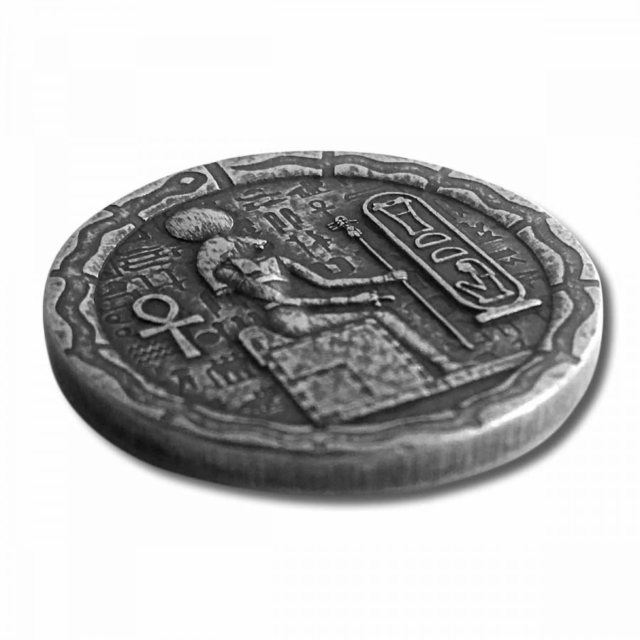 EGYPTIAN CAT GODDESS BASTET series RELIC Silver Coin-Bar 2020 Antique finish 1/2 oz
