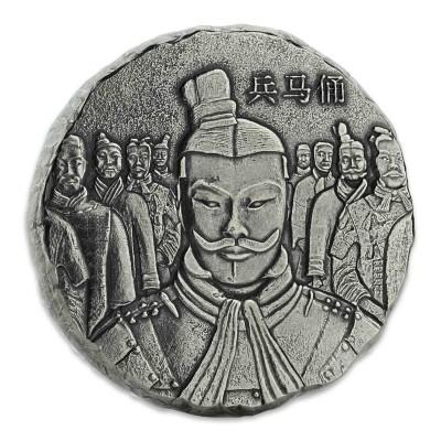 Fiji THE EMPEROR series TERRACOTTA WARRIORS $2 Silver coin 2018 Antique finish 5 oz