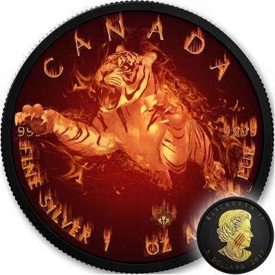 Canada TIGER series BURNING WILDLIFE $5 Canadian Maple Leaf