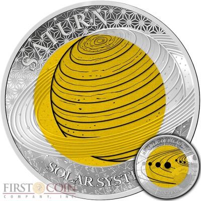 Republic of Palau SATURN series SOLAR SYSTEM NIOBIUM $2 Silver-Niobium Coin Proof 2017