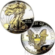 USA FULL DEEP MIRRORED WALKING LIBERTY AMERICAN SILVER EAGLE $1 Silver coin 2015 TWO SIDES GOLD PLATED 1 oz