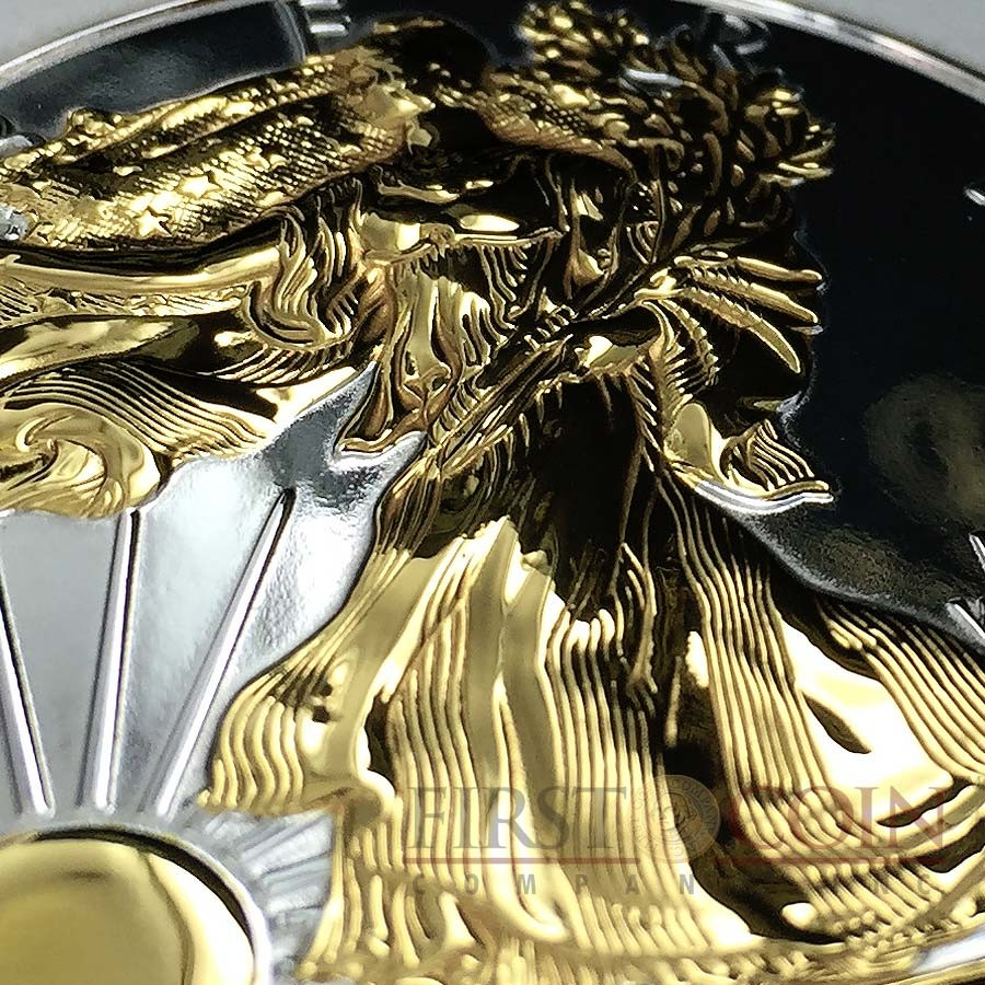 USA FULL DEEP MIRRORED WALKING LIBERTY AMERICAN SILVER EAGLE $1 Silver coin 2015 ONE SIDE GOLD PLATED 1 oz