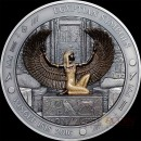 Palau WINGED I S I S Silver coin EGYPTIAN SYMBOLS series $20 Antique finish 2016 Gold plated High Relief 3 oz