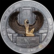 Palau WINGED I S I S Silver coin EGYPTIAN SYMBOLS series $20 Antique finish 2016 Gold plated High Relief Smartminting 3 oz