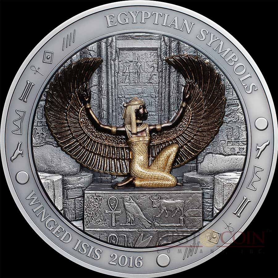 Palau winged i s i s silver coin egyptian symbols series 20 palau winged i s i s silver coin egyptian symbols series 20 antique finish 2016 gold plated high relief 3 oz biocorpaavc