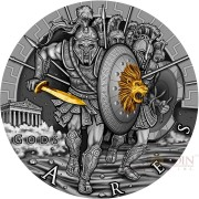 Niue Island ARES - GOD OF WAR series GODS Silver Coin $2 Antique finish 2017 Ultra High Relief Gold plated 2 oz
