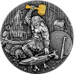 Niue Island HEPHAESTUS - GOD OF FIRE series GODS Silver Coin $2 Antique finish 2019 Ultra High Relief Gold plated 2 oz