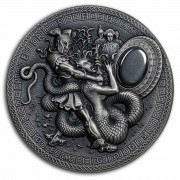 Niue Island PERSEUS series DEMIGODS Silver Coin $2 Antique finish 2018 Ultra High Relief Hematite stone 2 oz