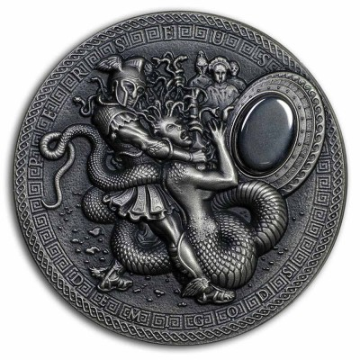Niue Island PERSEUS series DEMIGODS Silver Coin $2 Antique finish 2018 Ultra High Relief Hematite stone 2 oz