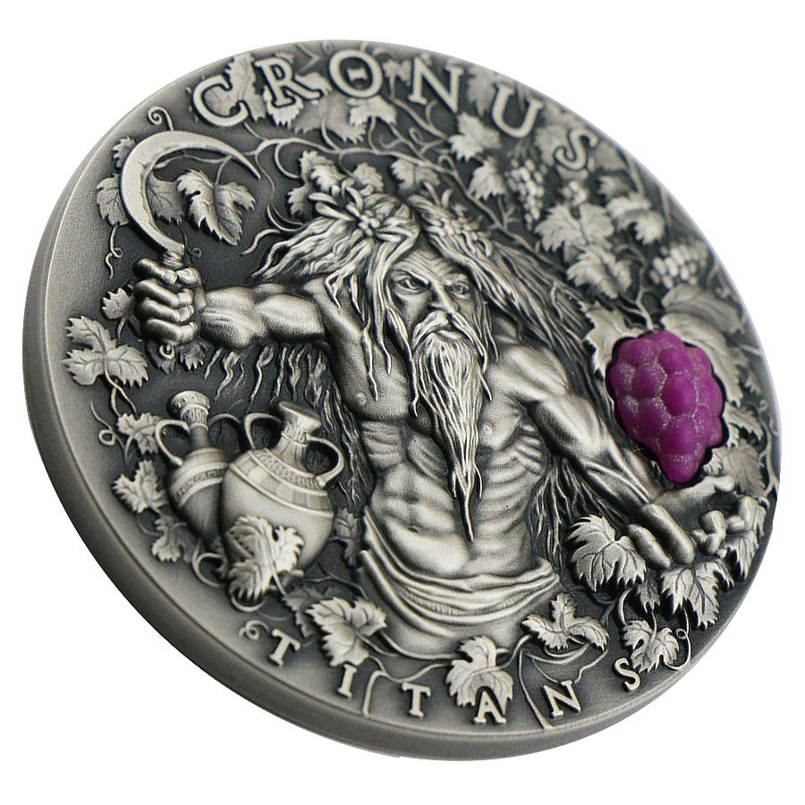 Niue Island CRONUS - GOD OF TIME and HARVEST series GREEK TITANS Silver Coin $2 Antique finish 2018 Ultra High Relief 2 oz