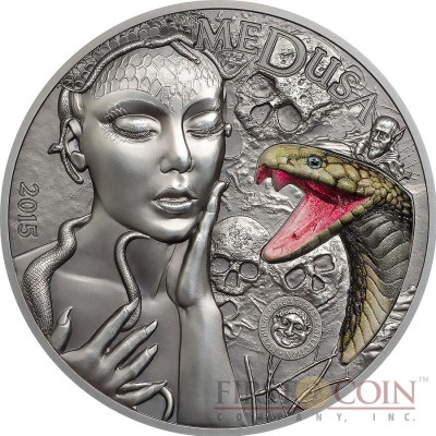 Palau MEDUSA GORGON series MYTHICAL CREATURES $10 Silver Coin Ultra High Relief Antique finish 2015 Marble Snake inlay 2 oz