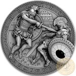 Niue Island TROJAN WAR - ACHILLES vs HECTOR series DEMIGODS Silver Coin $2 Antique finish 2017 Ultra High Relief Hematite stone 2 oz